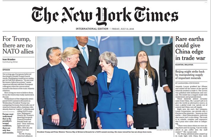 Forsíða alþjóðlegu útgáfu New York Times föstudaginn 13. júlí 2018.