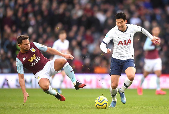Son Heung-min skoraði tvö fyrir Tottenham gegn Villa.