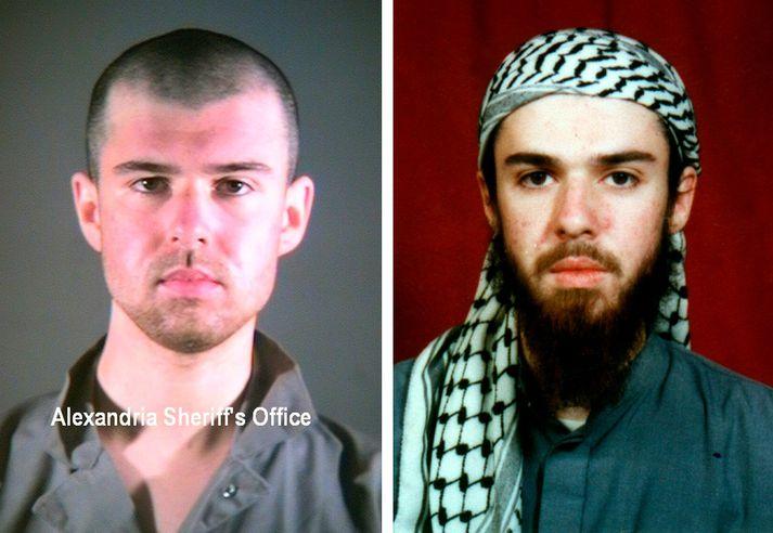 John Walker Lindh, eftir og fyrir hann var handsamaður í Afganistan árið 2001.