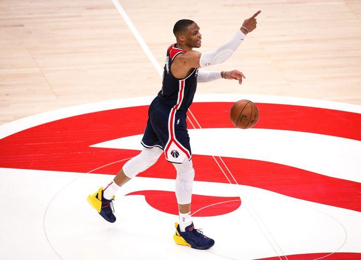 Russell Westbrook á metið yfir flestar þrefaldar tvennur í sögu Washington Wizards þótt fyrsta tímabili hans hjá félaginu sé ekki lokið.