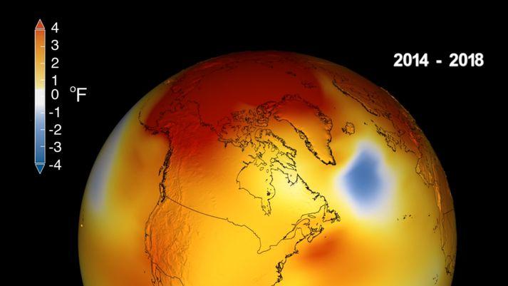 Aðeins árin 2015, 2016 og 2017 voru hlýrri en árið í fyrra samkvæmt mælingum NASA og NOAA.