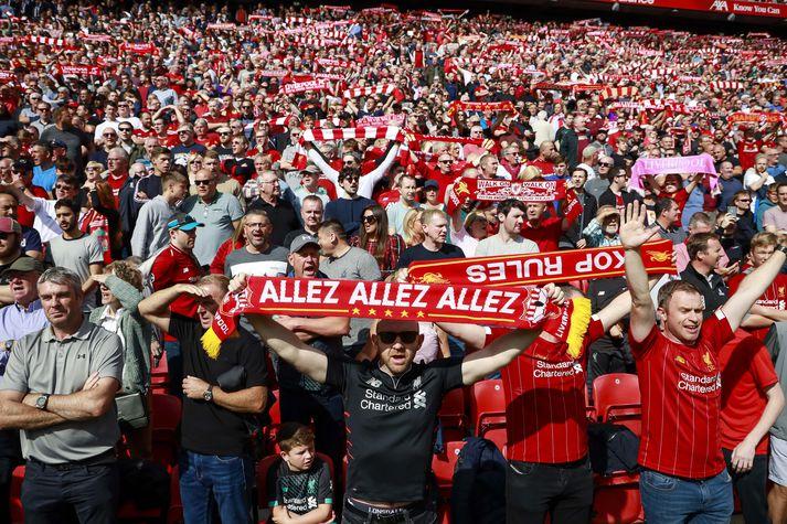 Stuðningsmenn Liverpool á leik liðsins gegn Newcastle um liðna helgi.