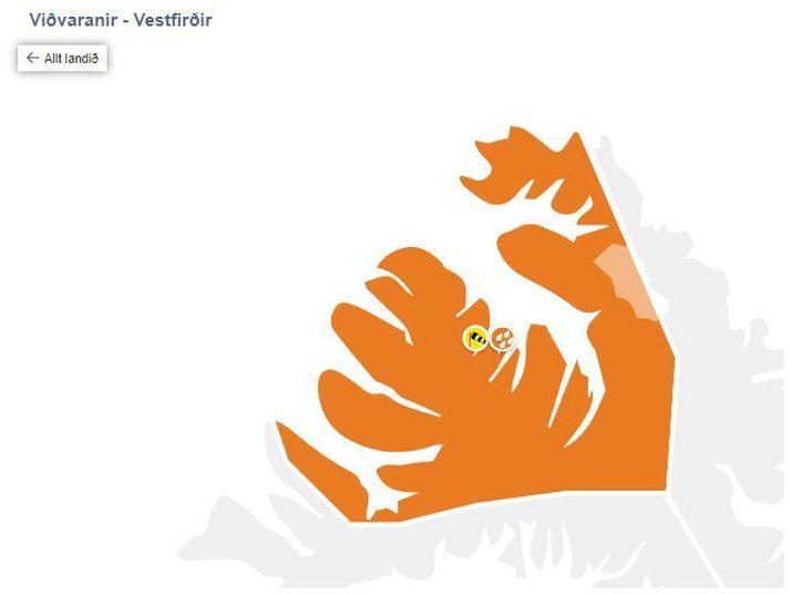 Veðurstofan hefur hækkað viðvörun á Vestfjörðum í appelsínugula.