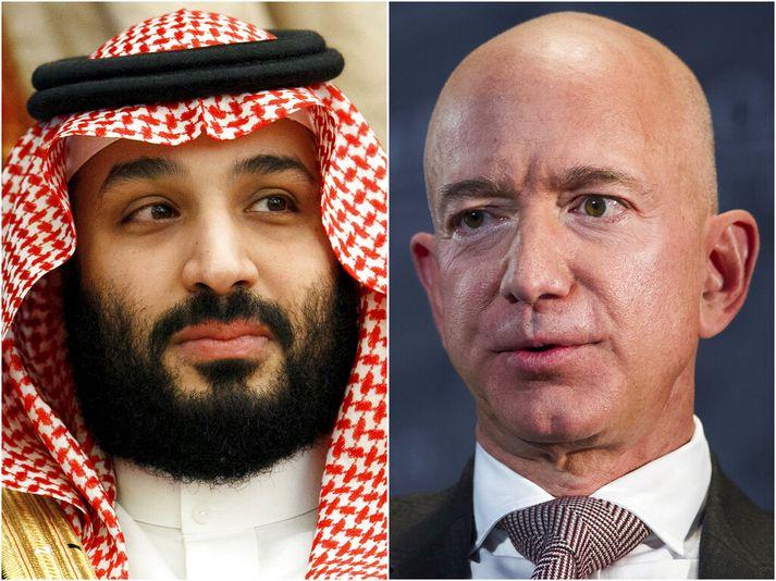 Salman krónprins (t.v.) og Bezos (t.h.) skiptust á skilaboðum í maí árið 2018. Grunur leikur á að Salman hafi sent spilliforrit í síma Bezos.