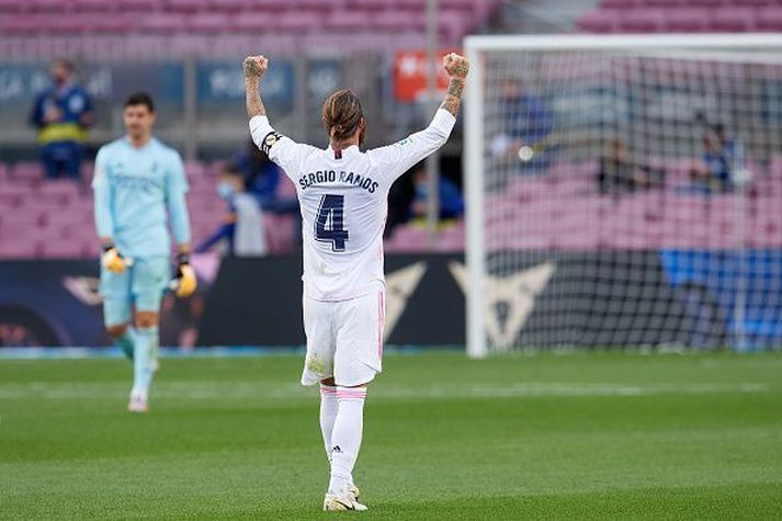 Sergio Ramos var lykilmaðurinn í sigri Real í dag. Hér sést hann fagna í leikslok.