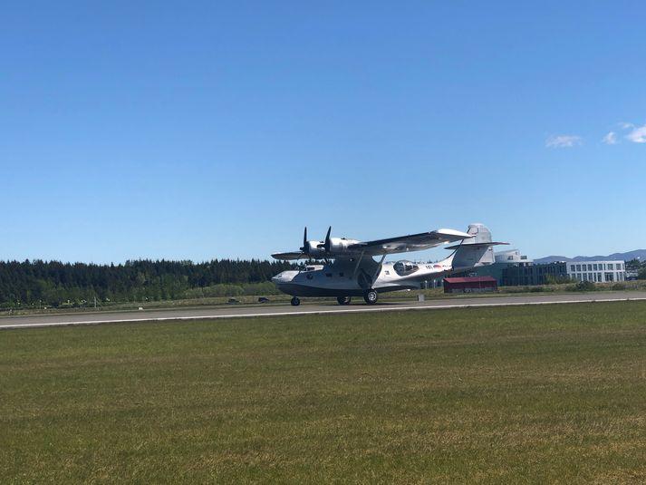 Flugbáturinn lendir á Reykjavíkurflugvelli í dag