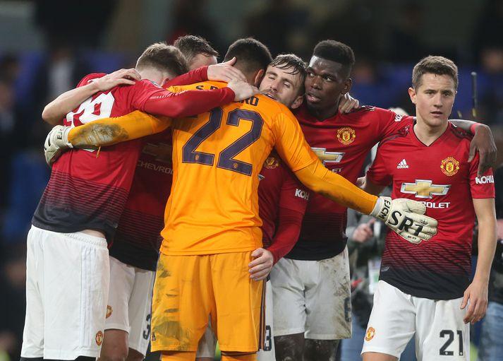 Leikmenn United fagna í kvöld.