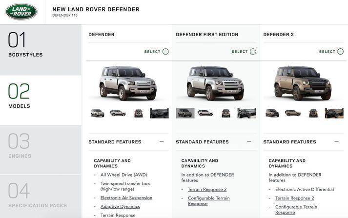 Land Rover configurator.