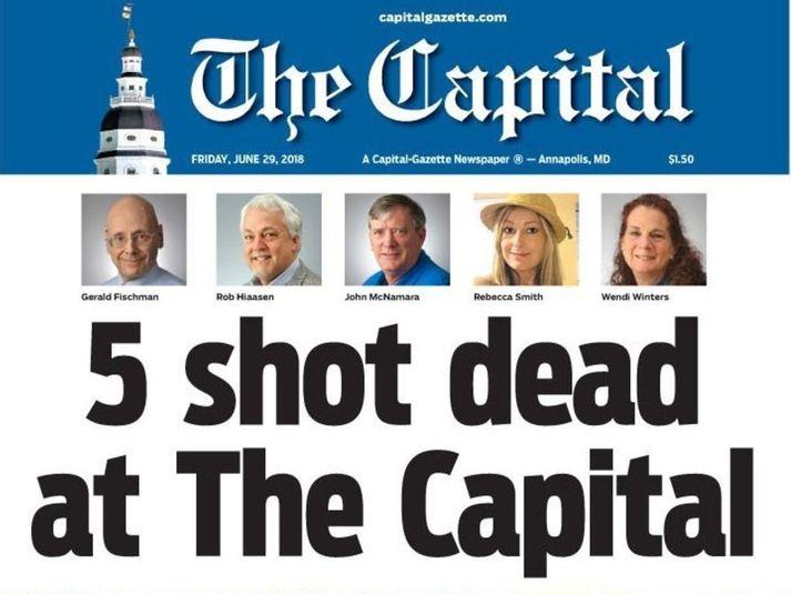 Hluti af forsíðu dagblaðsins The Capital Gazette í dag, 29. júní 2018.