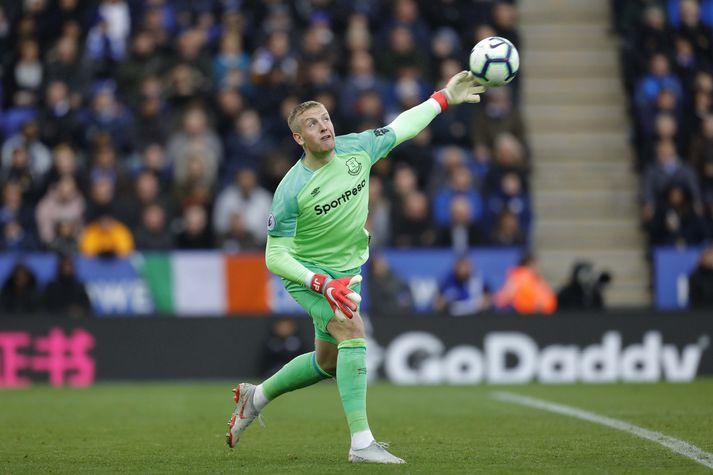 Pickford í leik með Everton gegn Leicester á dögunum.