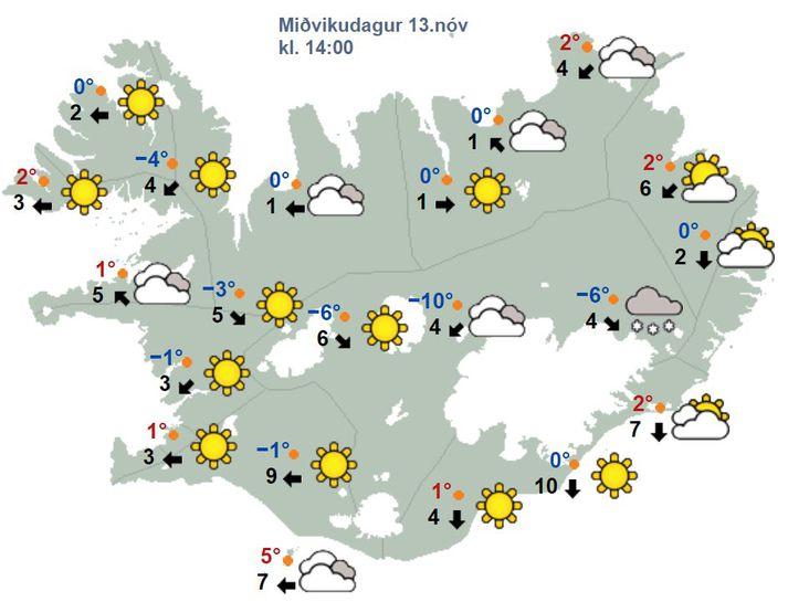 Það verður bjart víðast hvar á landinu í dag og hægur vindur.
