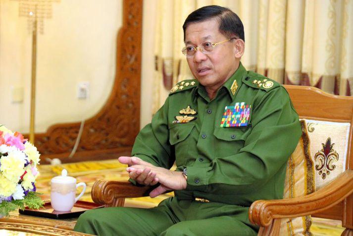 Min Aung Hlanig, æðsti herforingi mjanmarska hersins.
