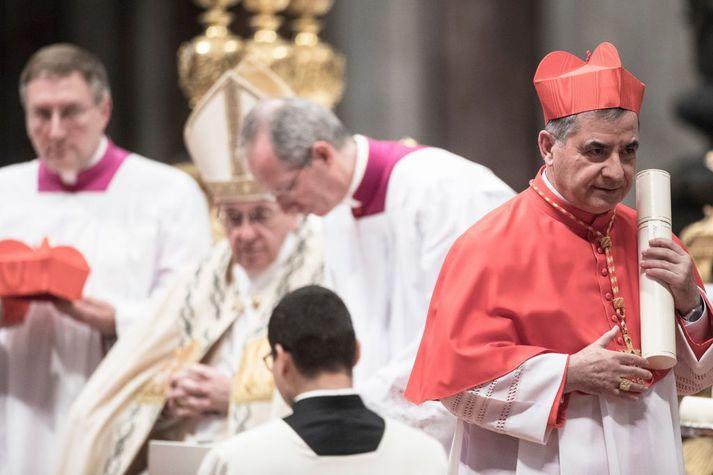Páfinn gerði Becciu að kardinála árið 2018.