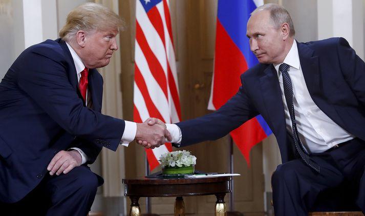 Donald Trump og Vladimir Putin í Helsinki.