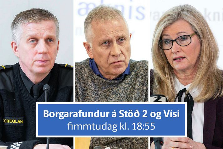 Víðir Reynisson yfirlögregluþjónn, Þórólfur Guðnason sóttvarnalæknir og Alma Möller landlæknir svara spurningum almennings á borgarafundi fréttastofu Stöðvar 2, Vísis og Bylgjunnar á fimmtudagskvöld.