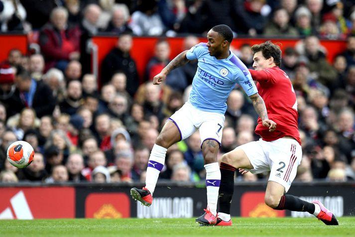 Raheem Sterling í leik með Manchester City á móti Manchester United á Old Trafford.