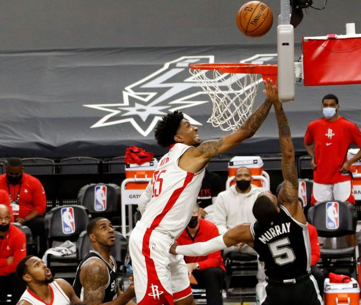Christian Wood var stigahæstur hjá Houston Rockets í sigrinum í nótt.