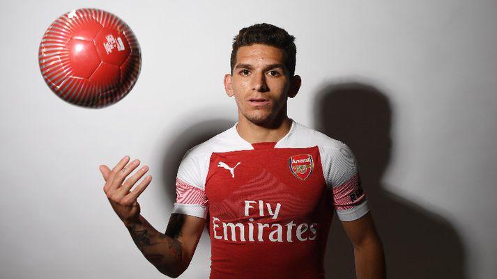 Lucas Torreira í búningi Arsenal.