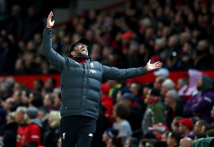 Klopp líflegur á Old Trafford í gær.