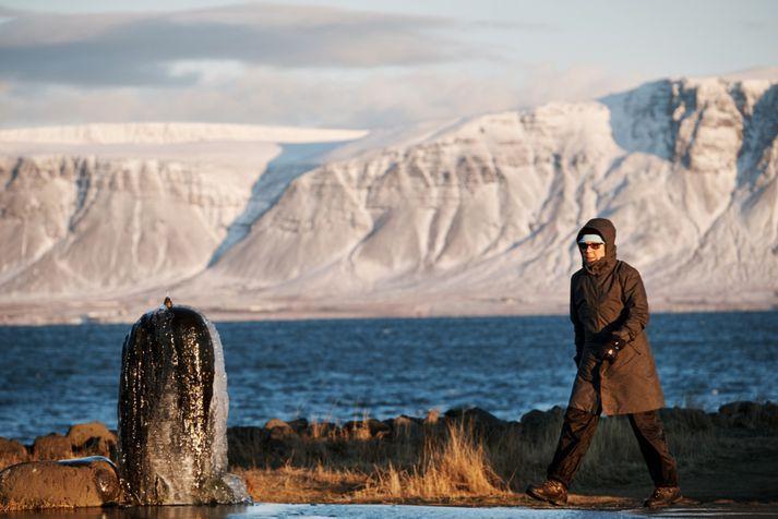 Meðalhiti í byggðum landsins var -8,2 stig í gær.