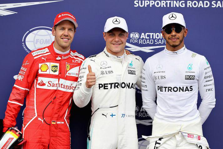 Sebastian Vettel, Valtteri Bottas og Lewis Hamilton.
