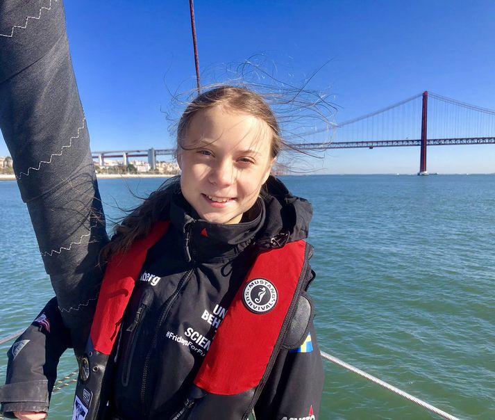 Hin sextán ára Greta Thunberg er komin til Portúgal.