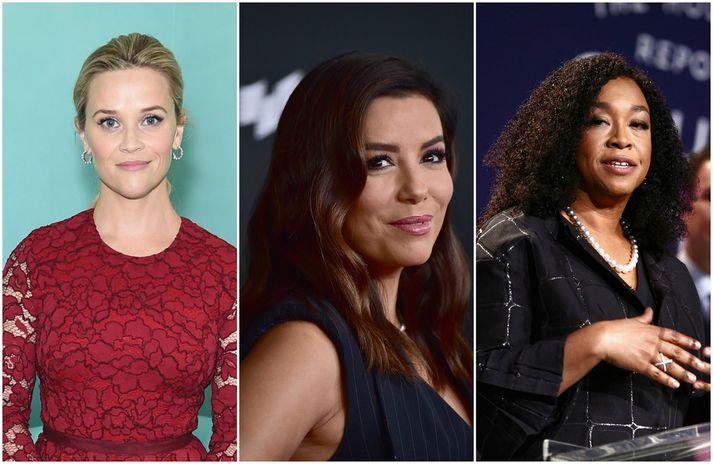 Reese Witherspoon, Eva Longoria og Shonda Rhimes eru á meðal þeirra kvenna sem standa að Time's Up-átakinu.