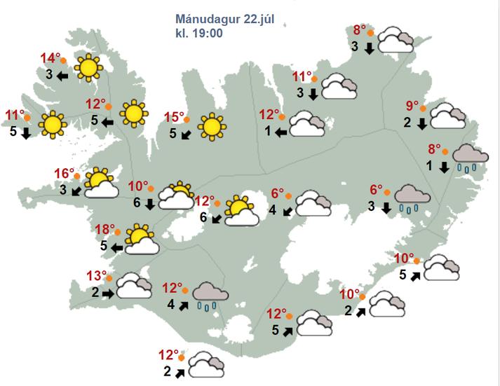 Sólin skín víða á landinu í dag, einkum á Vestfjörðum.