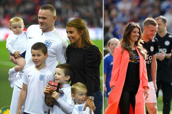 Wayne Rooney og Jamie Vardy hafa leikið saman með enska landsliðinu og þykir málið gríðarlega vandræðalegt fyrir Vardy-hjónin.