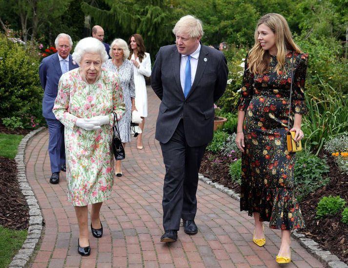 Elísabet Bretadrottning mætti á fund G7 ríkjanna í gær.