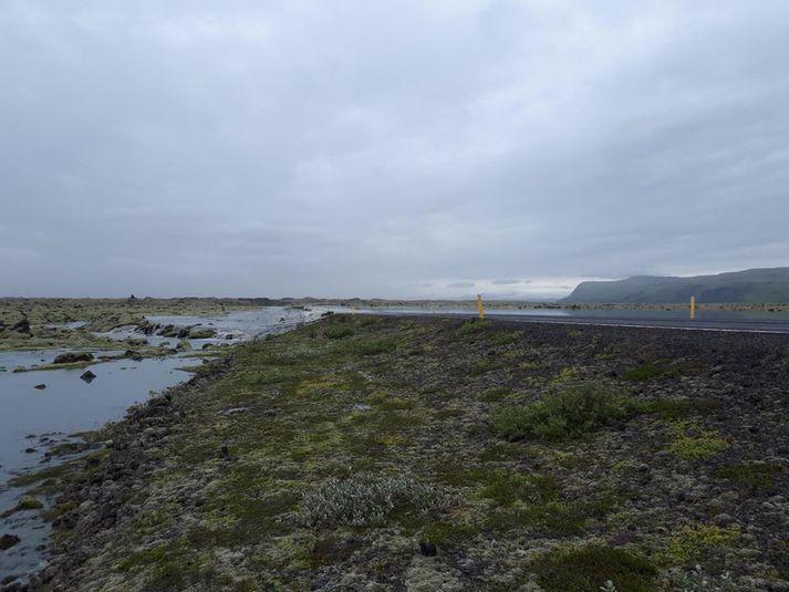 Frá Suðurlandsvegi um Eldhraun á mánudag. Mikið vatn hefur flætt yfir veginn.