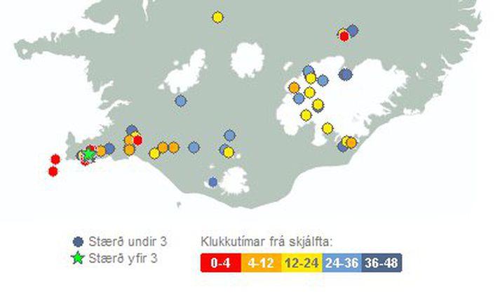 Fyrsti skjálftinn var 3,5 að stærð við Fagradalsfjall á Reykjanesskaga.