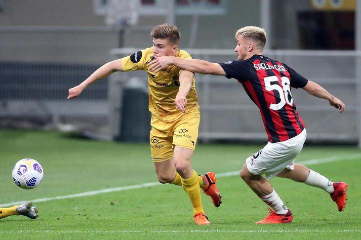 Alfons Sampsted í leikBodø/Glimtog AC Milan í Evrópudeildinni.