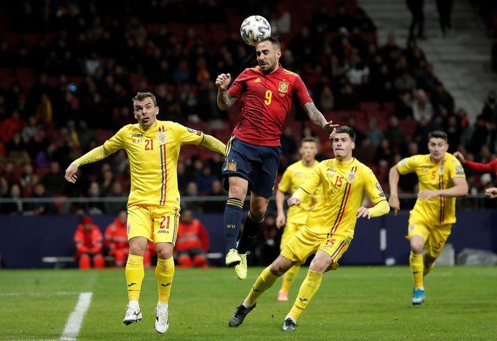 Rúmenía tapaði 5-0 fyrir Spáni í lokaleik sínum í undankeppni EM 2020.
