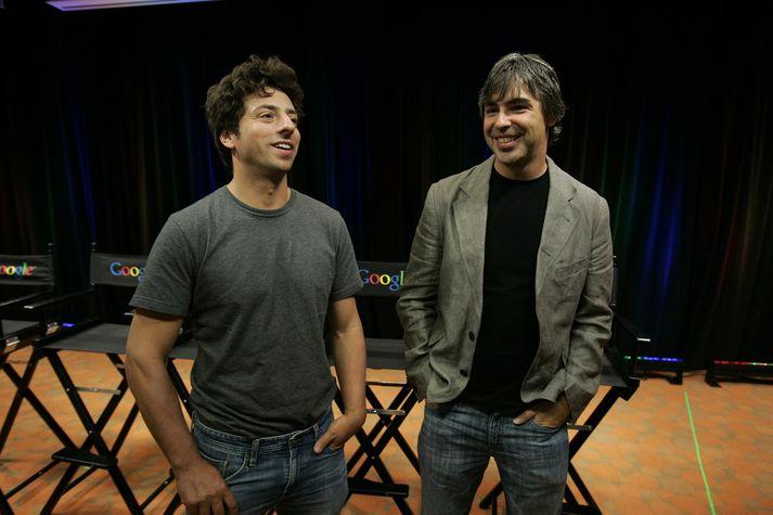 Þessi mynd af Sergey Brin og Larry Page var tekin árið 2008.