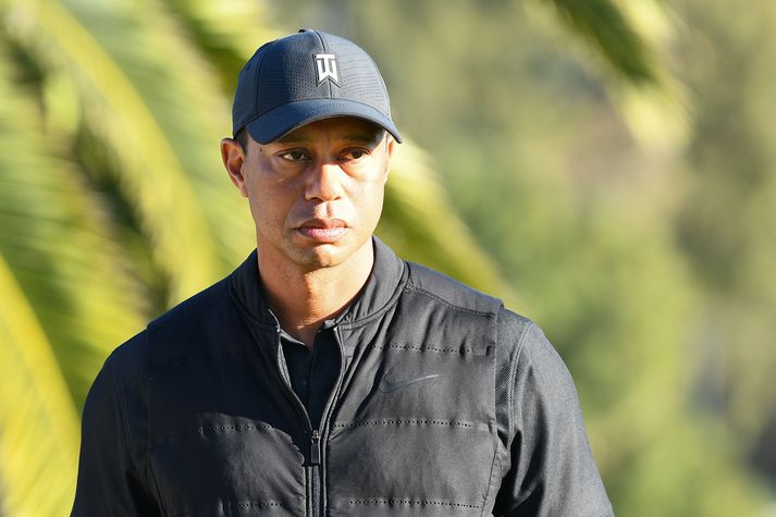GOLF: FEB 21 PGA - The Genesis Invitational PACIFIC PALISADES, CA - FEBRUARY 21: Tiger Woods looks on from the 18th hole during the final round of The Genesis Invitational golf tournament at the Riviera Country Club in Pacific Palisades, CA on February 21, 2021. The tournament was played without fans due to the COVID-19 pandemic.(Photo by Brian Rothmuller/Icon Sportswire via Getty Images)