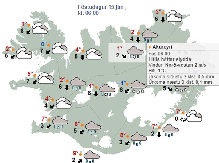 Íslendingar hafa séð betra veður í miðjum júní.
