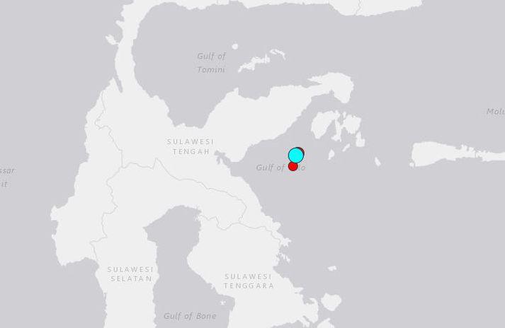 Skjálftinn varð um 280 kílómetrum suður af Gorontalo-héraði á norðurhluta Sulawesi.