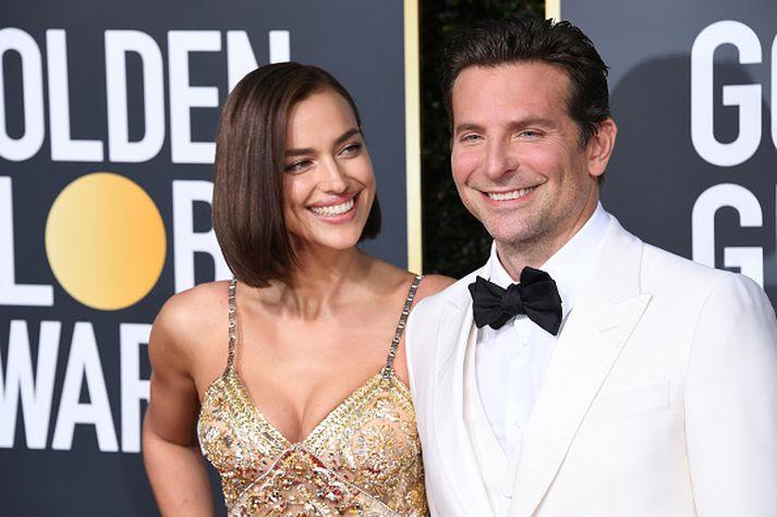 Irina Shayk og Bradley Cooper á Golden Globe verðlaunahátíðinni fyrr á árinu