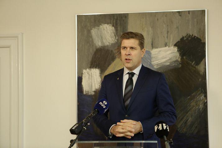 Bjarni Benediktsson eftir fund með forseta Íslands í dag.