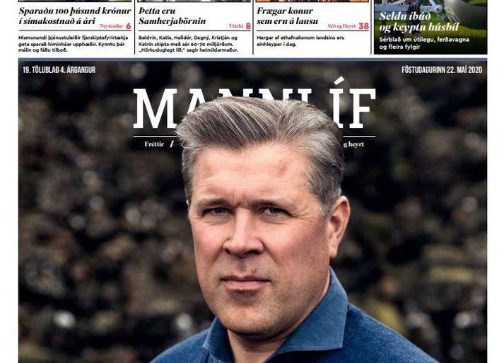 Bjarni Benediktsson prýddi síðustu forsíðu Mannlífs, fríblaðs Birtíngs.