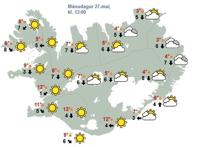 Svona lítur spákort Veðurstofunnar út á hádegi í dag.