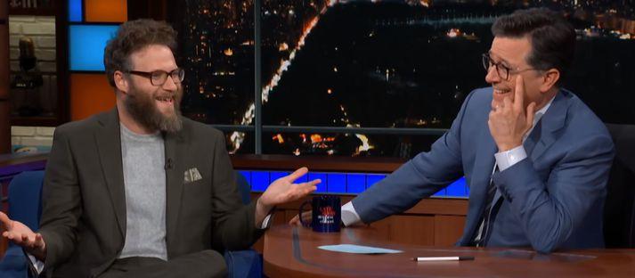 Seth Rogen og Stephen Colbert.