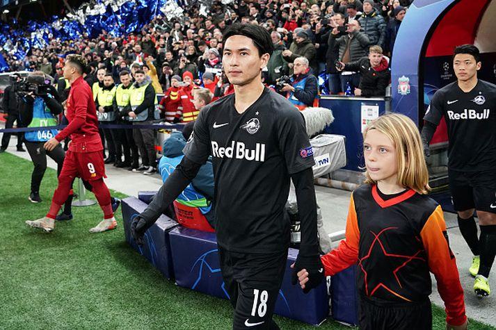 Takumi Minamino fyrir leikinn gegn Liverpool.