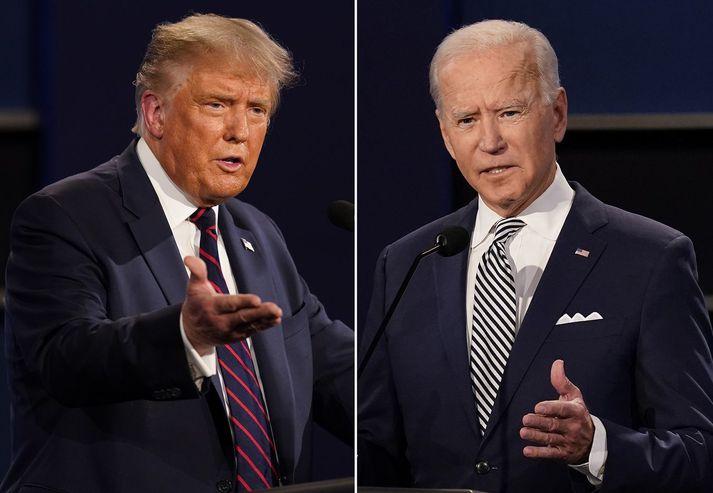 Donald Trump og Joe Biden munu koma fram á tveimur mismunandi fundum með kjósendum, á sama tíma, í nótt.