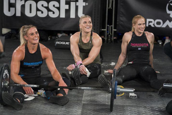 Þrjár helstu CrossFit konur landsins, Sara, Katrín Tanja og Anníe Mist.