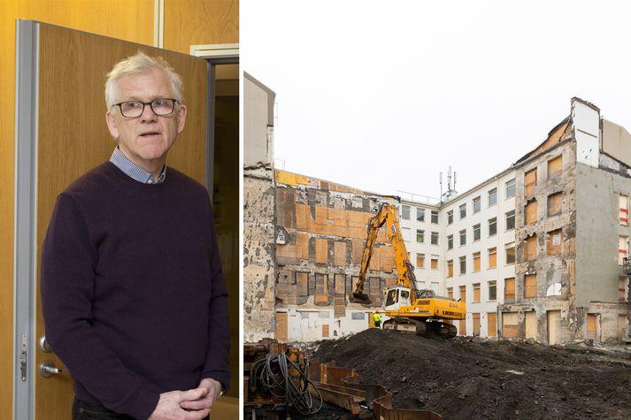 Deilur hafa staðið í þónokkurn tíma um byggingu hótels á Landsímareitnum í miðbæ Reykjavíkur.