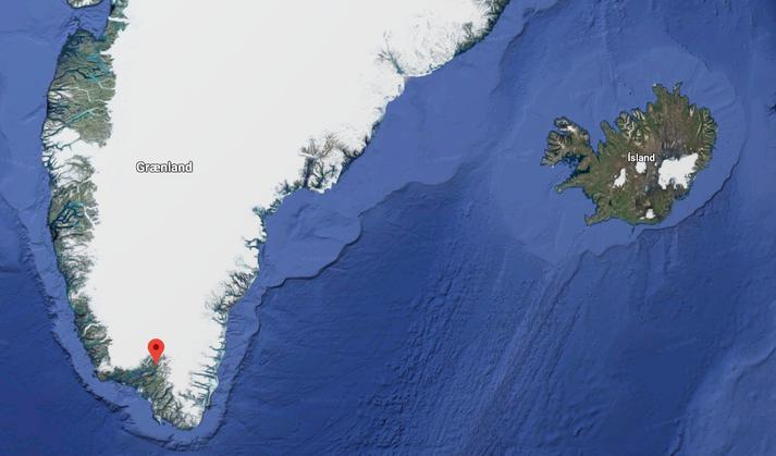 Vélin missti mótór á milli Íslands og Grænlands en lenti heilu og höldnu í Narsarsuaq, sem merkt er með rauðu á korti.