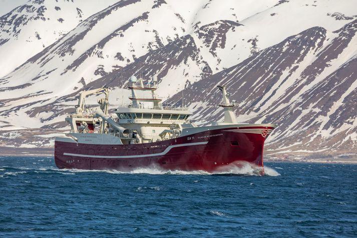 Vilhelm Þorsteinsson EA, sigldi í fyrsta sinn inn Eyjafjörð í gær.