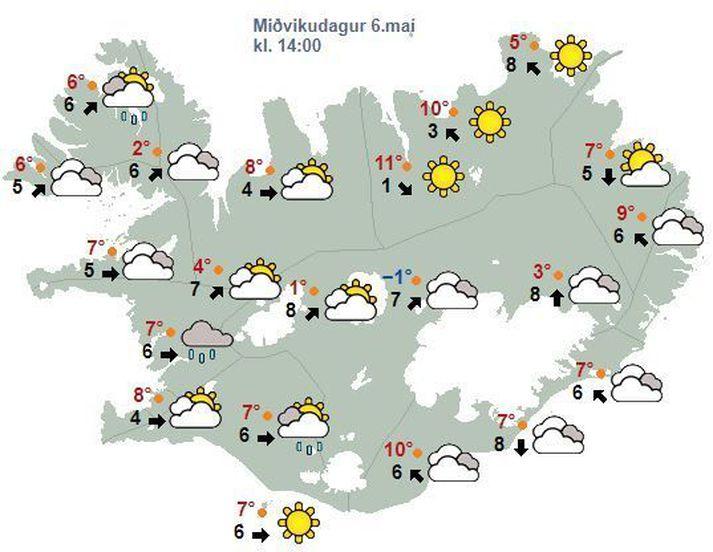 Spákortið fyrir klukkan 14 í dag eins og það leit út í morgunsárið.